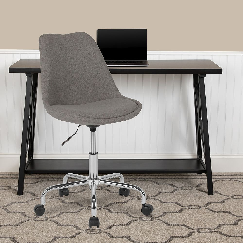 Flash Furniture Aurora Series Mid-Back Light Gray Fabric Task Office Chair with Pneumatic Lift and Chrome Base