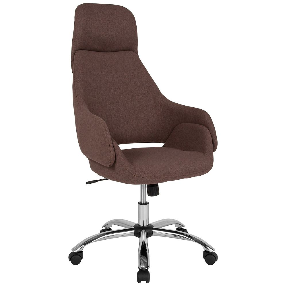 Flash Furniture Marbella Home and Office Upholstered High Back Chair in Brown Fabric
