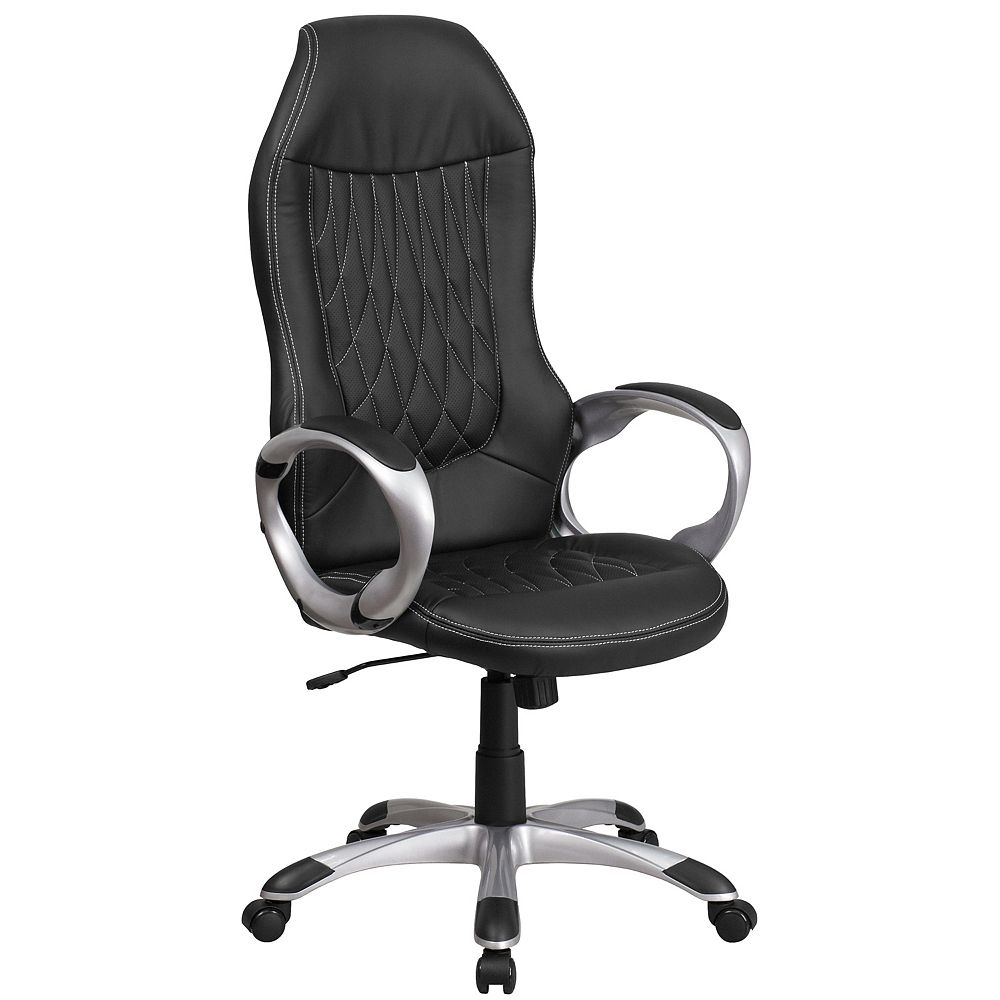Flash Furniture High Back Black Vinyl Executive Swivel Office Chair with Arms