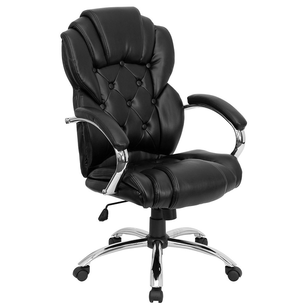 Flash Furniture High Back Transitional Style Black Leather Executive Swivel Office Chair with Arms