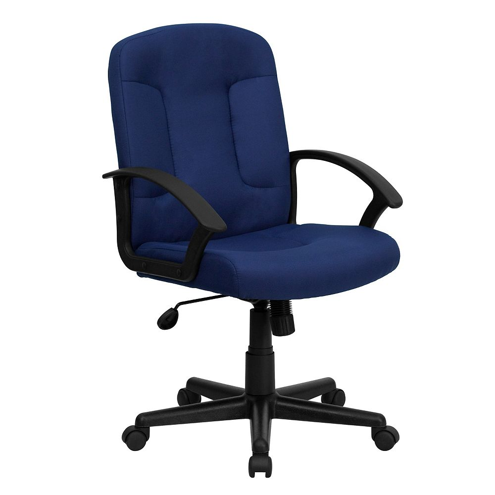 Flash Furniture Mid-Back Navy Fabric Executive Swivel Chair with Nylon Arms