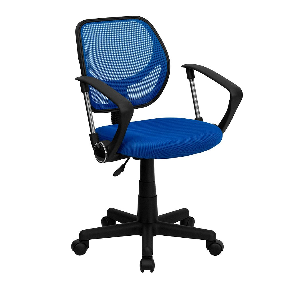 Flash Furniture Mid-Back Blue Mesh Swivel Task Chair with Curved Square Back and Arms