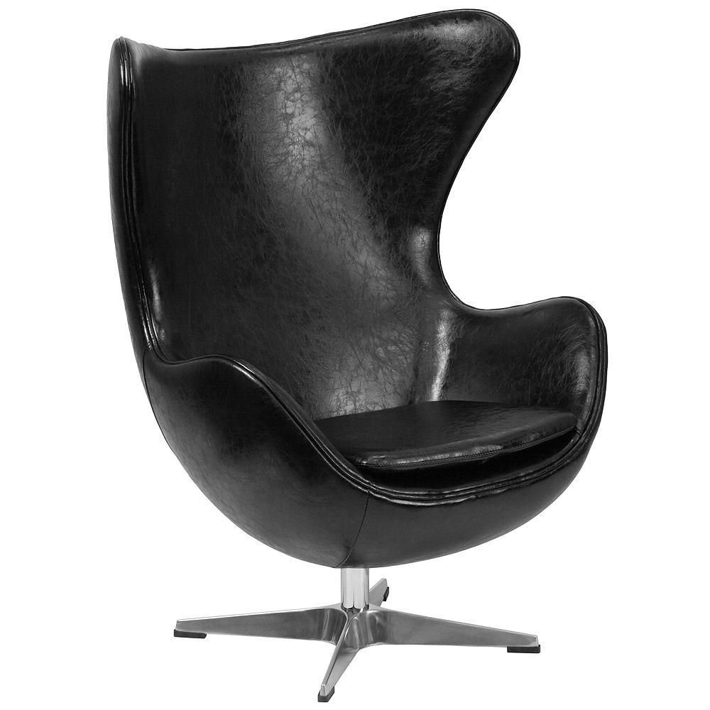 Flash Furniture Black Leather Egg Chair with Tilt-Lock Mechanism