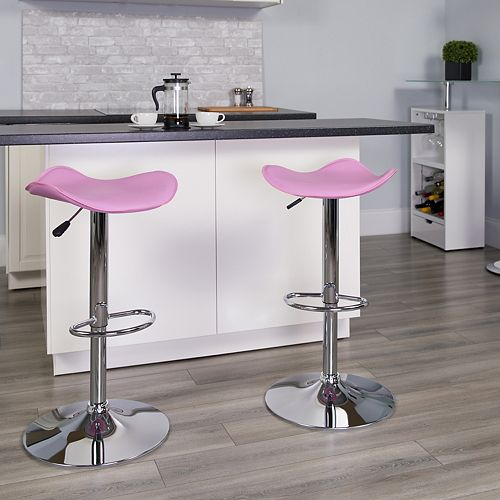 Contemporary Pink Vinyl Adjustable Height Barstool with Wavy Seat and Chrome Base