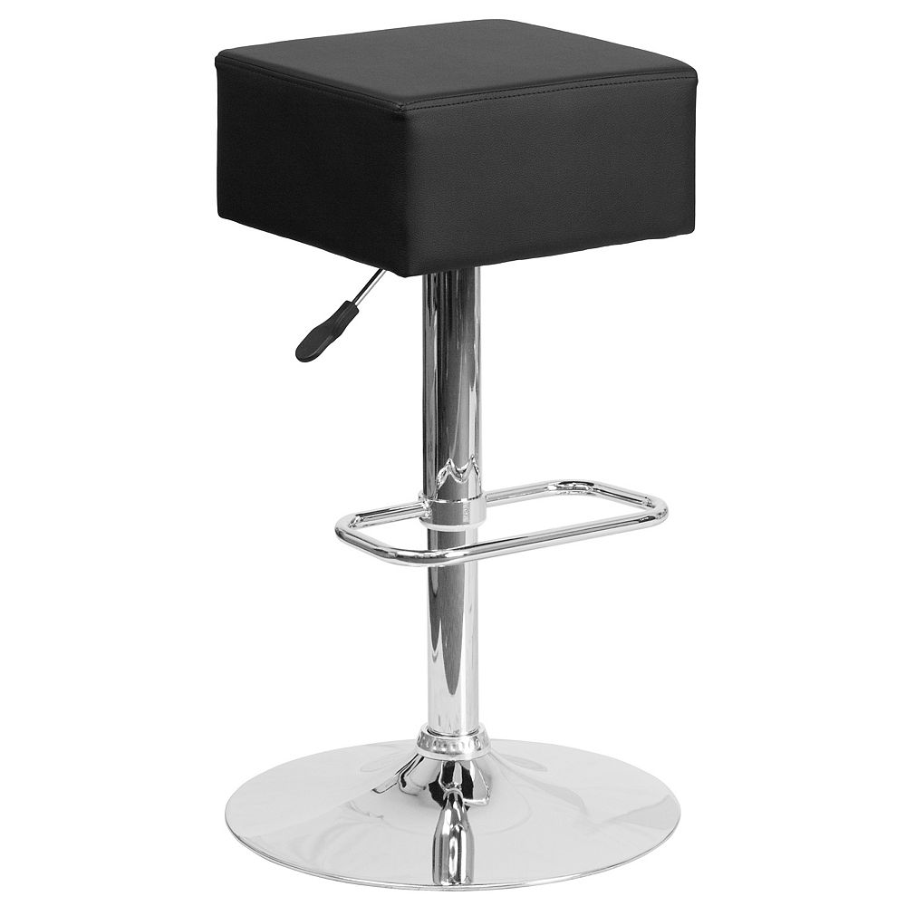 Flash Furniture Contemporary Black Vinyl Adjustable Height Barstool with Square Seat and Chrome Base