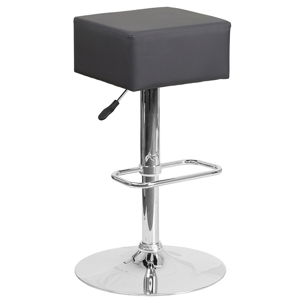 Flash Furniture Contemporary Gray Vinyl Adjustable Height Barstool with Square Seat and Chrome Base