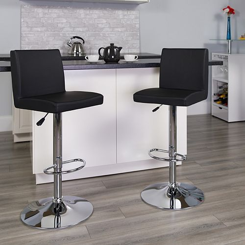Flash Furniture Contemporary Black Vinyl Adjustable Height Barstool with Panel Back and Chrome Base