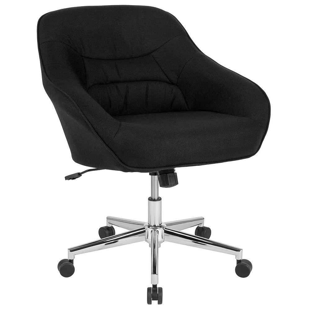 Flash Furniture Chaise Marseille de bureau et de la maison à dossier mi-hauteur rembourrée en tissu noir