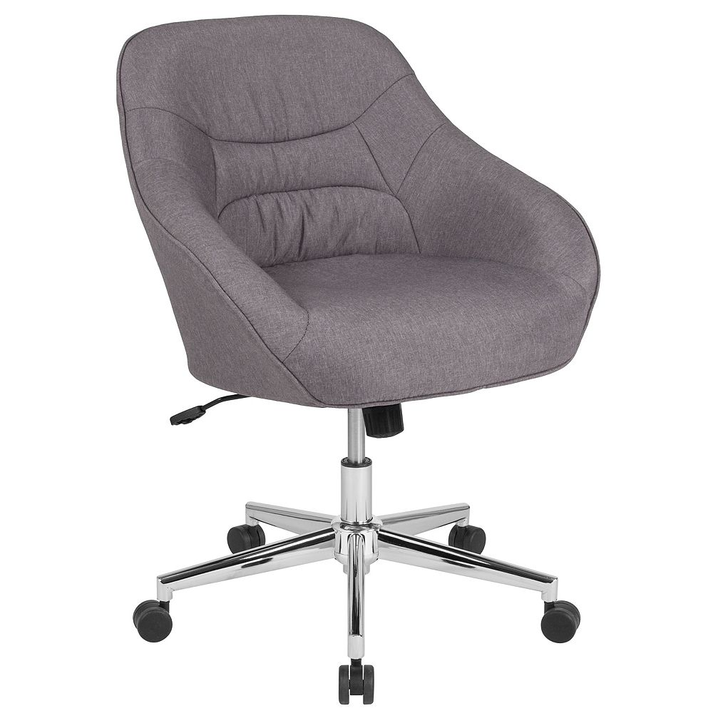 Flash Furniture Marseille Home and Office Upholstered Mid-Back Chair in Light Gray Fabric