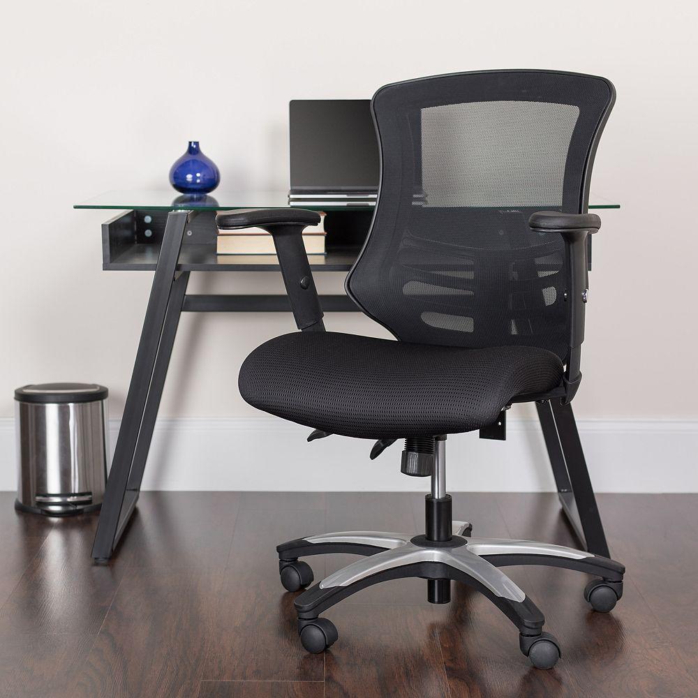 Flash Furniture Chaise noire en maille avec dossier haut