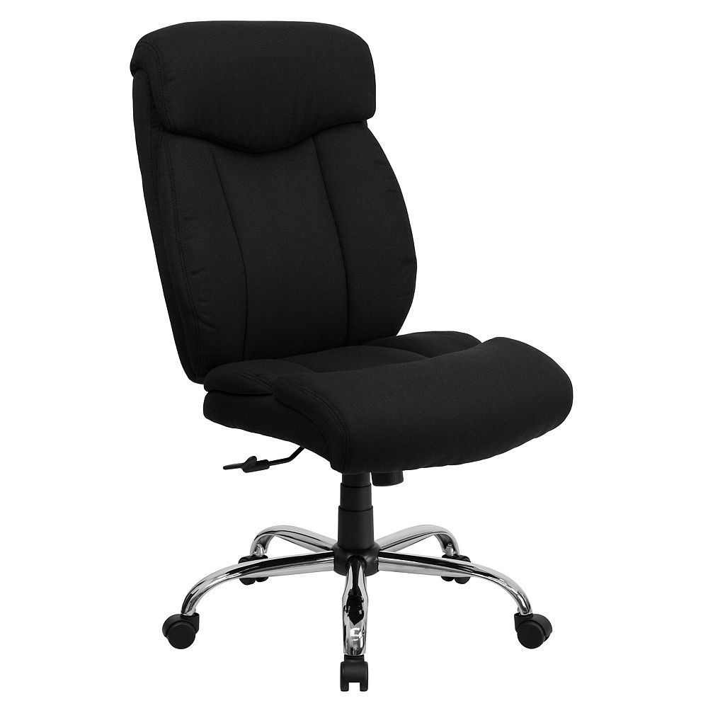 Flash Furniture HERCULES Series Big & Tall 400 lb. Rated Black Fabric Executive Swivel Chair and Chrome Base