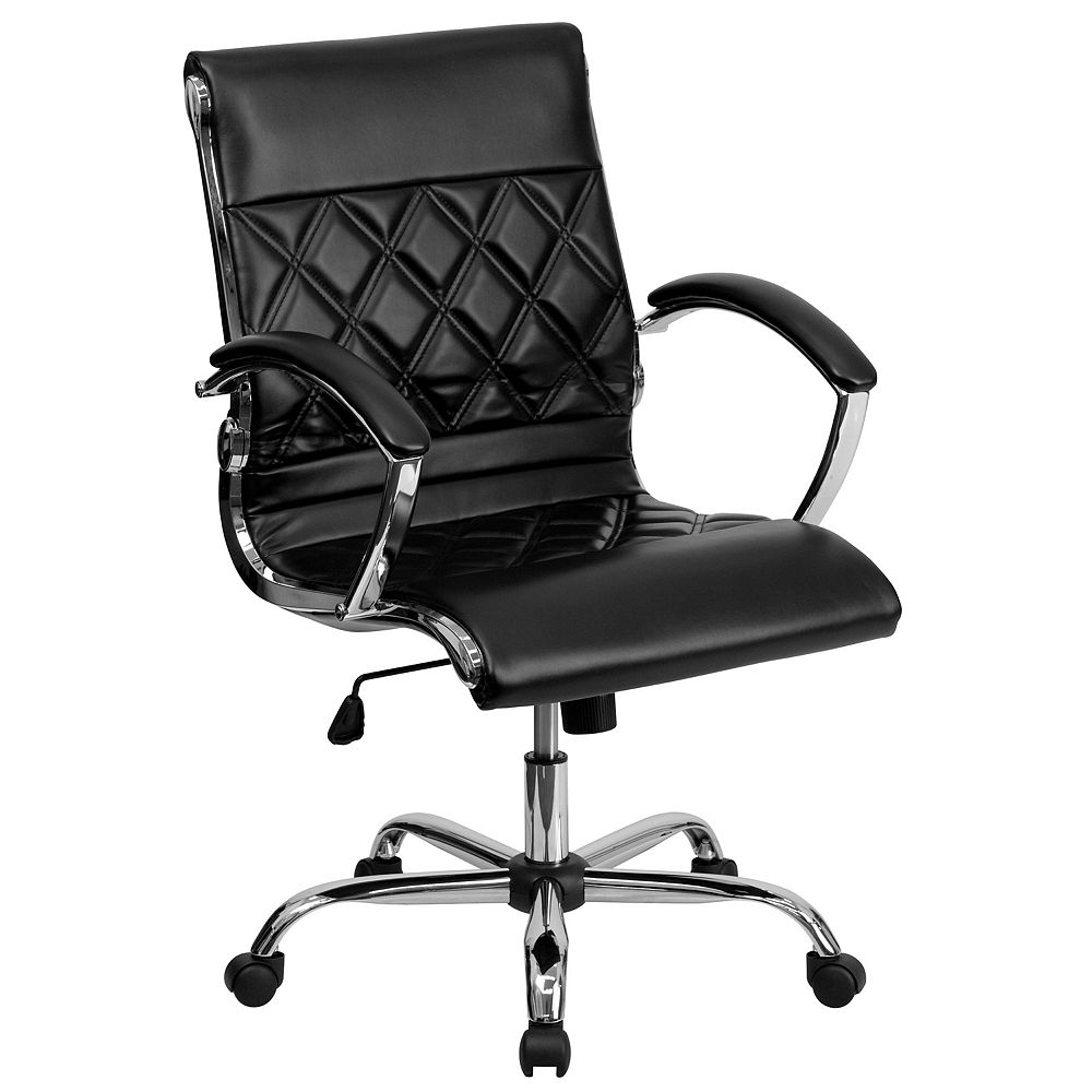 Flash Furniture Mid-Back Designer Black Leather Executive Swivel Chair with Chrome Base and Arms