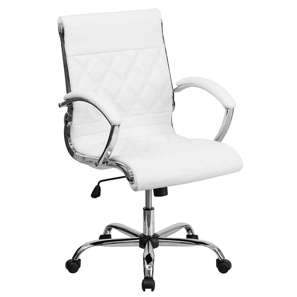 Flash Furniture Mid-Back Designer White Leather Executive Swivel Chair with Chrome Base and Arms