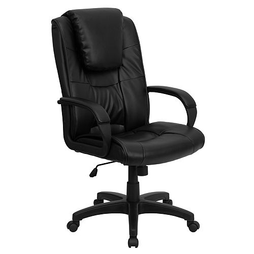 Flash Furniture High Back Black Leather Executive Swivel Office Chair with Oversized Headrest and Arms