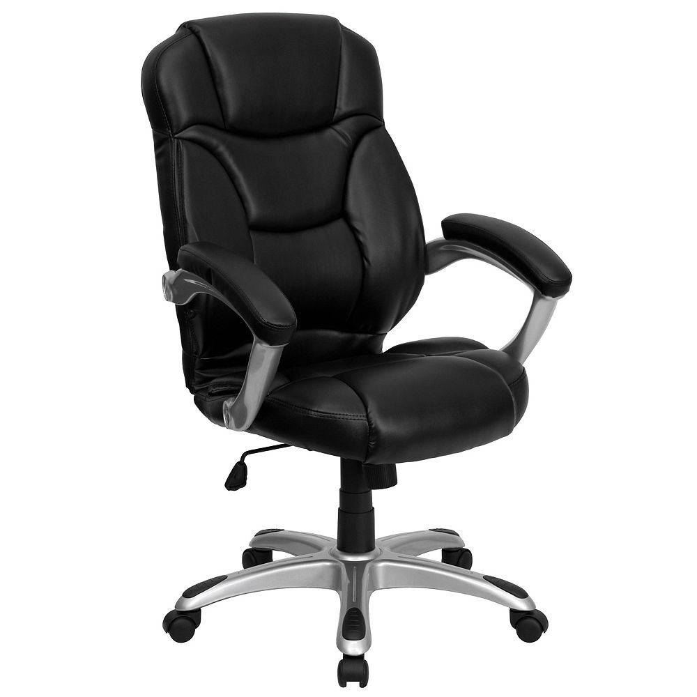 Flash Furniture High Back Black Leather Contemporary Executive Swivel Chair with Silver Nylon Base and Arms
