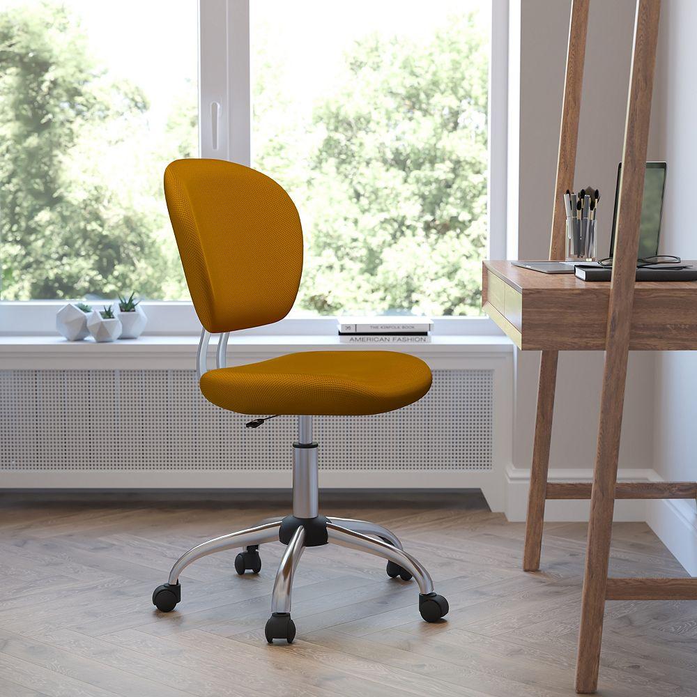 Flash Furniture Mid-Back Orange Mesh Padded Swivel Task Chair with Chrome Base