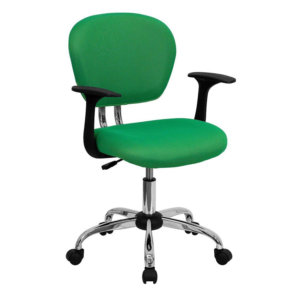 Flash Furniture Chaise de travail verte brillante à dossier mi-hauteur