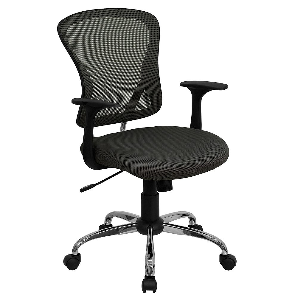 Flash Furniture Mid-Back Dark Gray Mesh Swivel Task Chair with Chrome Base and Arms
