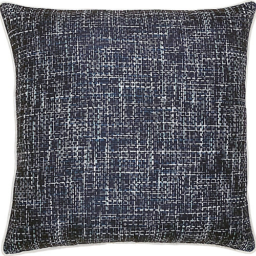 Wakefield Sofa Patio Indoor and Outdoor Pillow in Navy and White