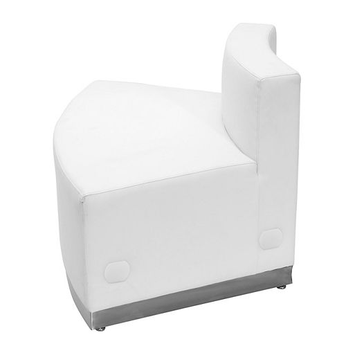 HERCULES Alon Series Melrose White Leather Convex Chair with Brushed Stainless Steel Base