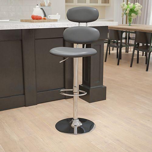 Gray Vinyl Barstool