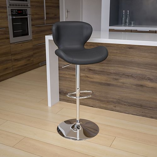 Contemporary Gray Vinyl Adjustable Height Barstool with Curved Back and Chrome Base