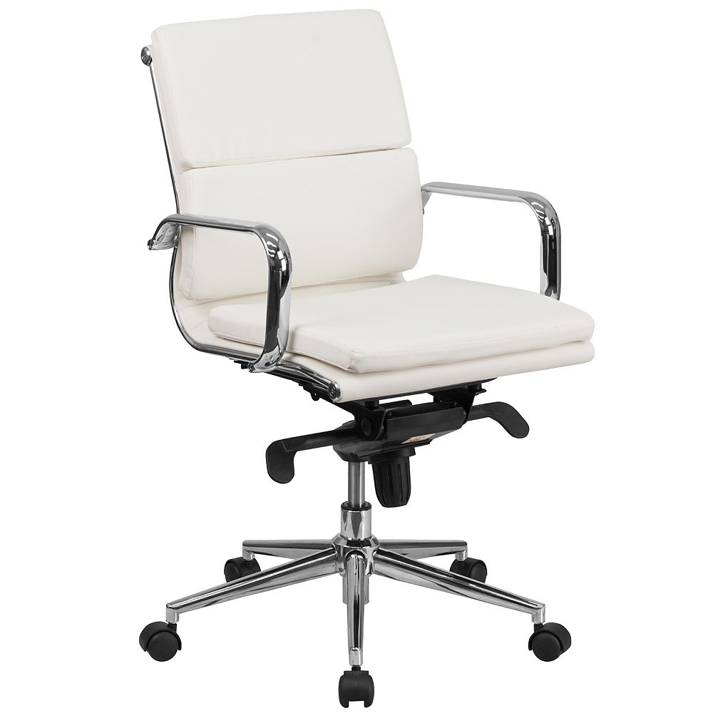 Flash Furniture Mid-Back White Leather Executive Swivel Office Chair with Synchro-Tilt Mechanism and Arms