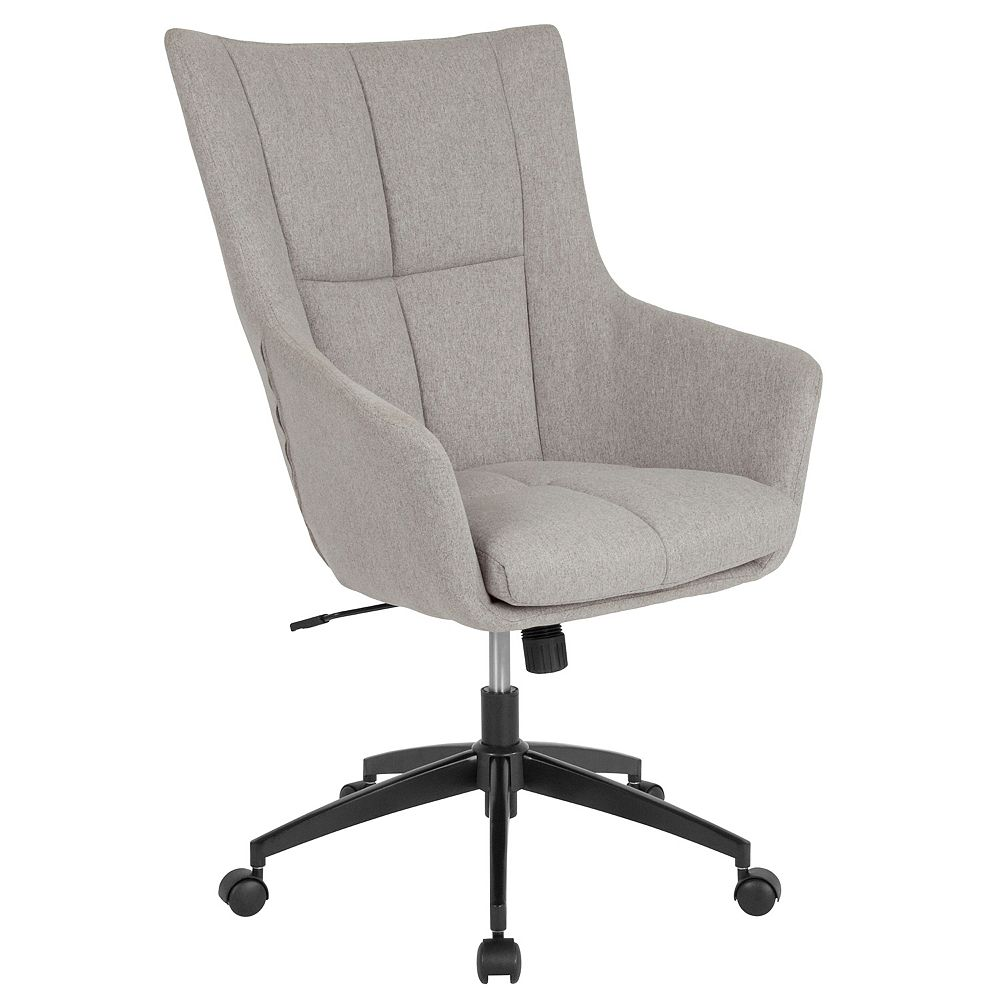 Flash Furniture Barcelona Home and Office Upholstered High Back Chair in Light Gray Fabric