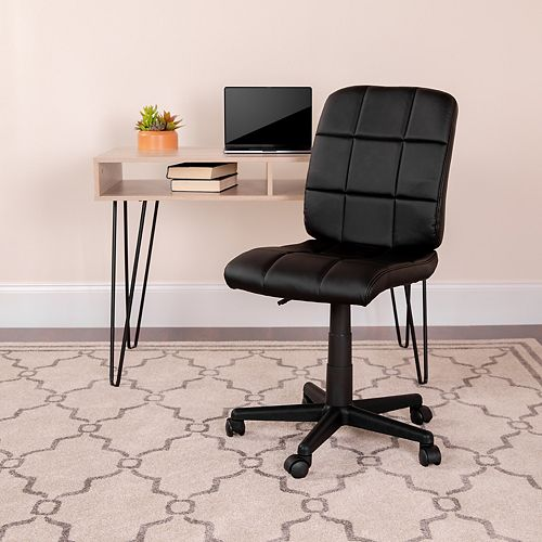 Flash Furniture Mid-Back Black Quilted Vinyl Swivel Task Chair