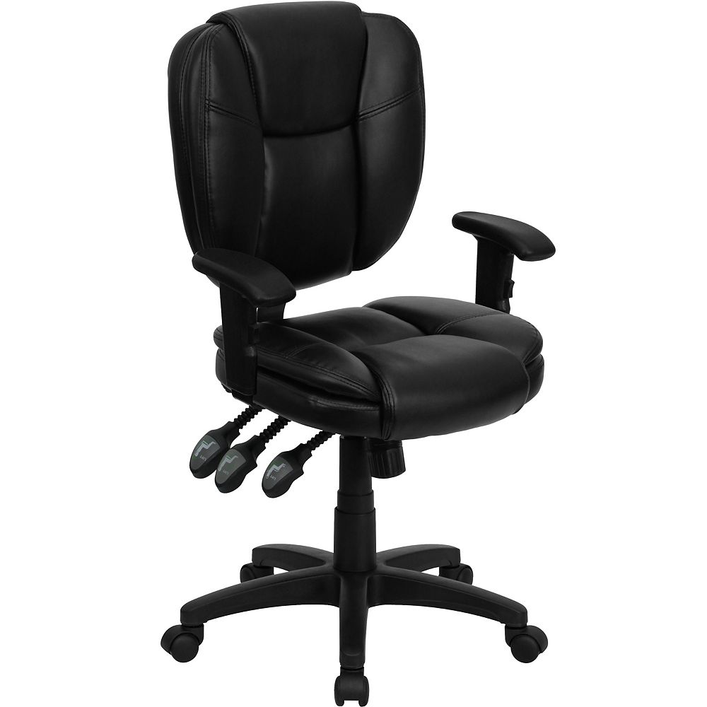 Flash Furniture Mid-Back Black Leather Multifunction Ergonomic Swivel Task Chair with Pillow Top Cushioning and Arms