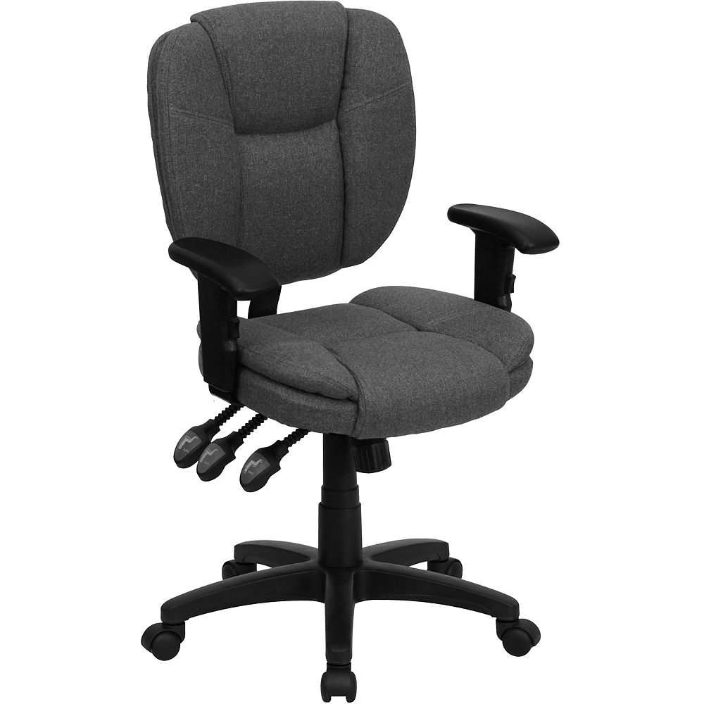 Flash Furniture Mid-Back Gray Fabric Multifunction Ergonomic Swivel Task Chair with Pillow Top Cushioning and Arms