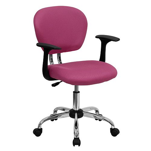 Mid-Back Pink Mesh Padded Swivel Task Chair with Chrome Base and Arms