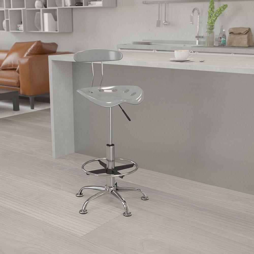 Flash Furniture Tabouret de dessinateur en chrome et couleur argentée vibrante avec siège tracteur