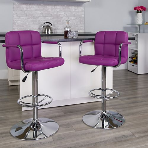 Purple Quilted Vinyl Barstool