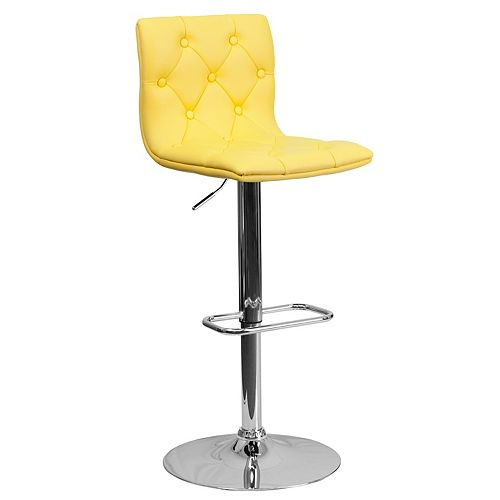 Tufted Yellow Vinyl Barstool