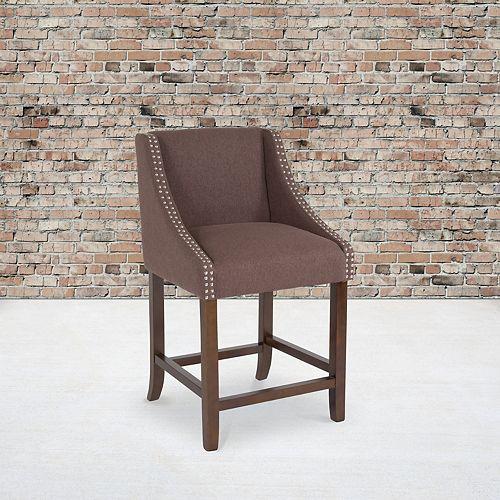 "24"" Brown Fabric/Wood Stool"