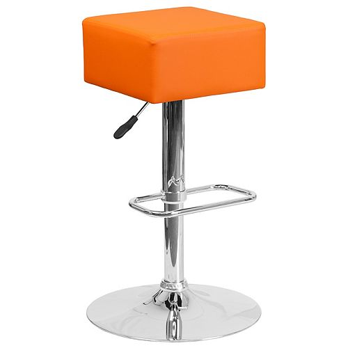 Contemporary Orange Vinyl Adjustable Height Barstool with Square Seat and Chrome Base