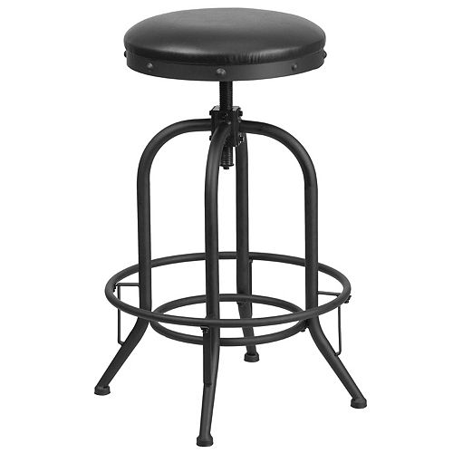 Flash Furniture 30'' Barstool with Swivel Lift Black Leather Seat