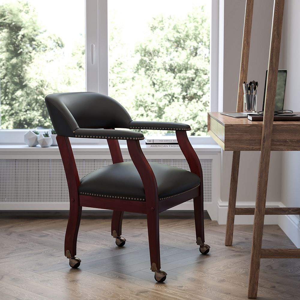 Flash Furniture Black Top Grain Leather Conference Chair with Accent Nail Trim and Casters