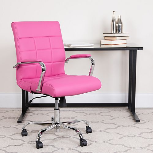 Mid-Back Pink Vinyl Executive Swivel Chair with Chrome Base and Arms