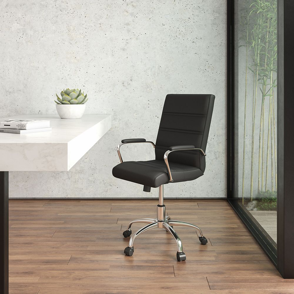 Flash Furniture Mid-Back Black Leather Executive Swivel Chair with Chrome Base and Arms