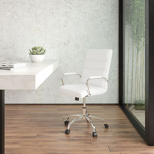 Mid-Back White Leather Executive Swivel Chair with Chrome Base and Arms