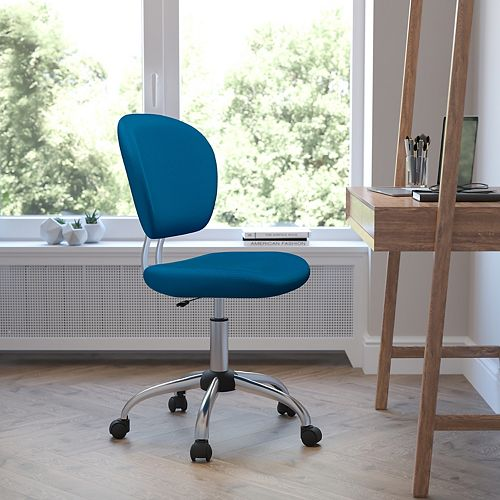Mid-Back Turquoise Mesh Padded Swivel Task Chair with Chrome Base