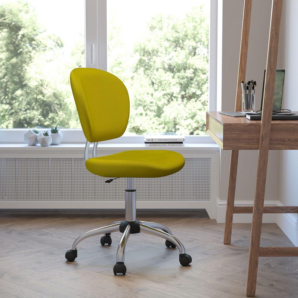 Flash Furniture Chaise de travail pivotante rembourrée en maille jaune à dossier mi-hauteur avec base chromée