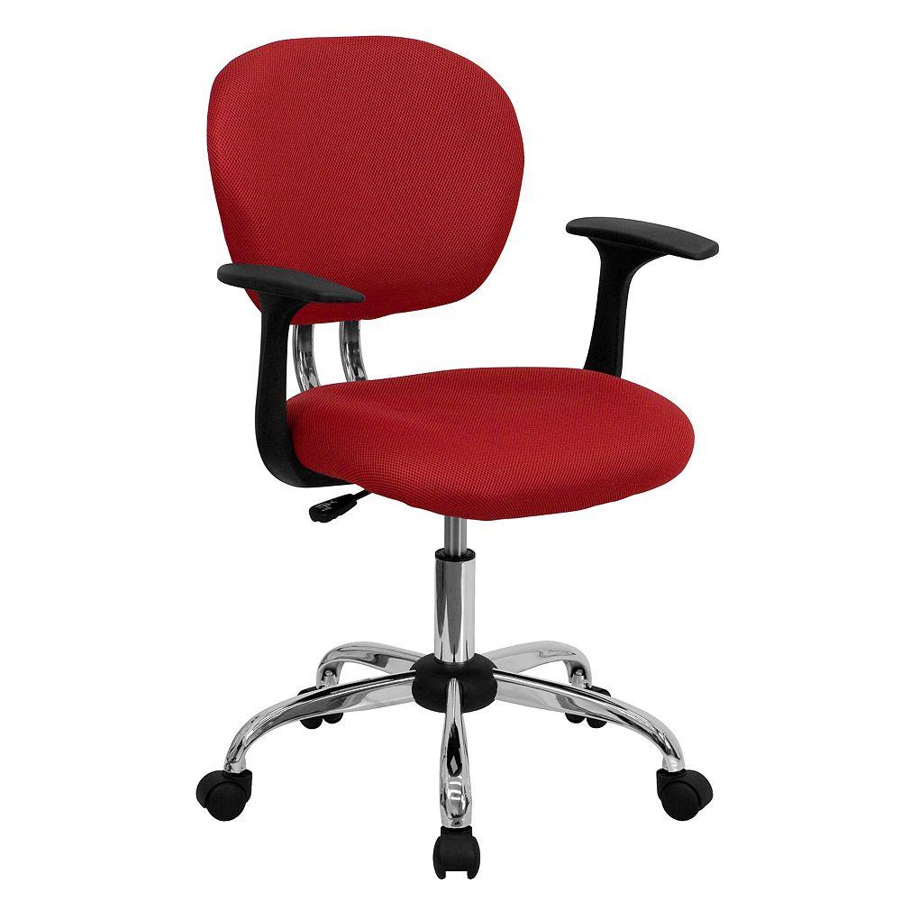 Flash Furniture Chaise de travail rouge à dossier mi-hauteur