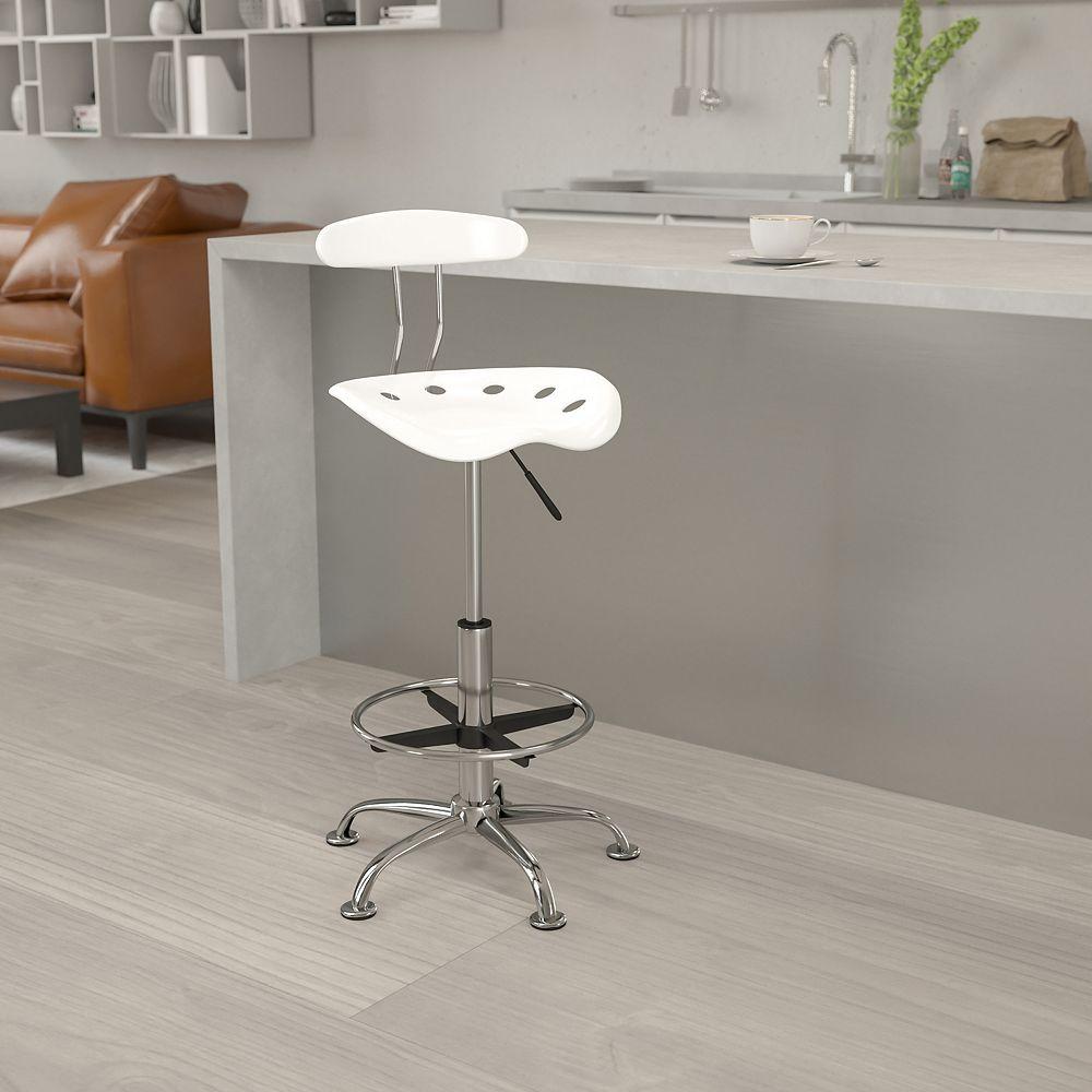 Flash Furniture Tabouret de dessinateur en chrome et couleur blanche avec siège tracteur