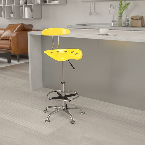 Vibrant Yellow and Chrome Drafting Stool with Tractor Seat
