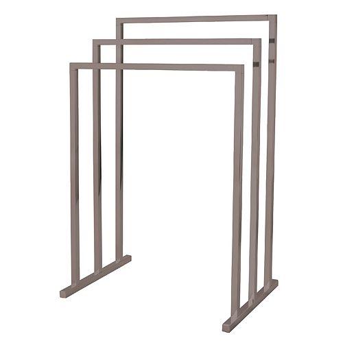 Porte-serviette autoportant European à structure en fer à brois barres, nickel brossé