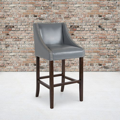 """30"""" Gray Leather/Wood Stool"""
