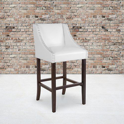 """30"""" White Leather/Wood Stool"""